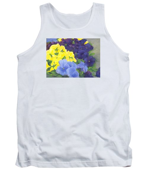 Pansy Garden Bright Colorful Flowers Painting Pansies Floral Art Artist K. Joann Russell Tank Top by Elizabeth Sawyer