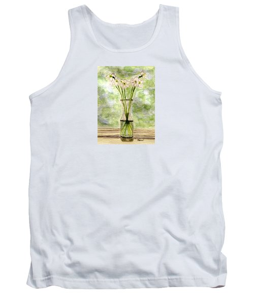 Tank Top featuring the painting Paper Whites In Sunlight by Angela Davies