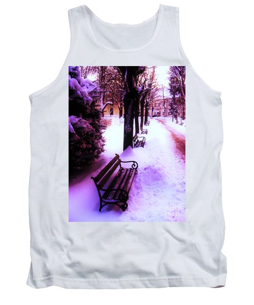 Tank Top featuring the photograph Park Benches In Snow by Nina Ficur Feenan