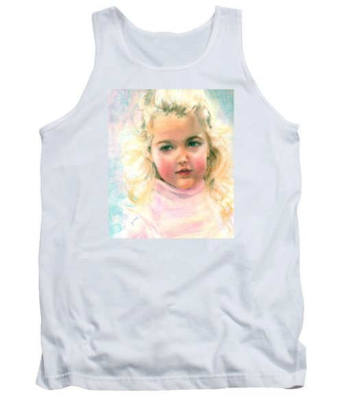 Pastel Portrait Of An Angelic Girl Tank Top