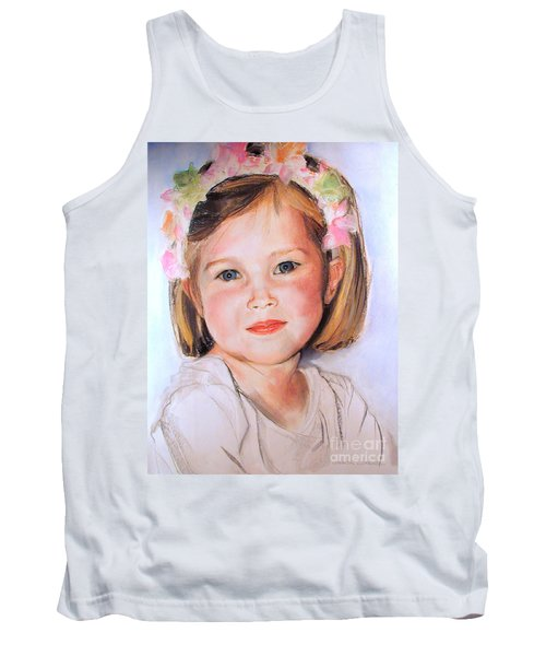 Pastel Portrait Of Girl With Flowers In Her Hair Tank Top