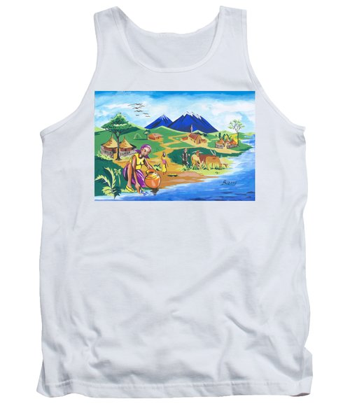 Tank Top featuring the painting Paysage Du Nord Du Rwanda by Emmanuel Baliyanga