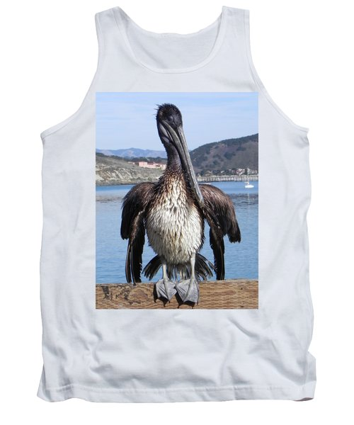 Tank Top featuring the photograph Pelican At Avila Beach Ca by Kathy Churchman