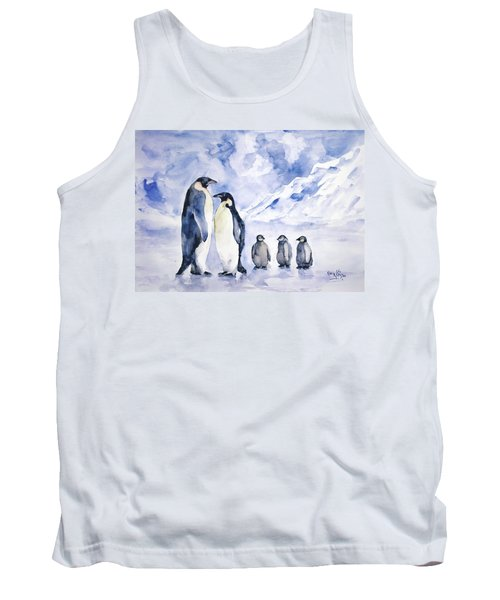 Tank Top featuring the painting Penguin Family by Faruk Koksal