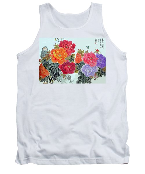 Tank Top featuring the photograph Peonies And Birds by Yufeng Wang