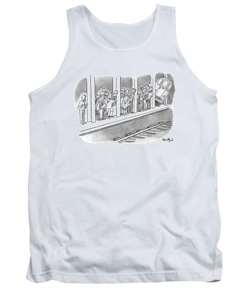 People Waiting For A Subway Peek Onto The Tracks Tank Top