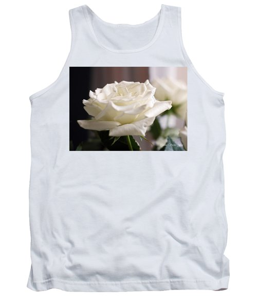 Perfect White Rose Tank Top by Connie Fox