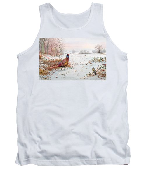 Pheasant And Bramblefinch In The Snow Tank Top by Carl Donner