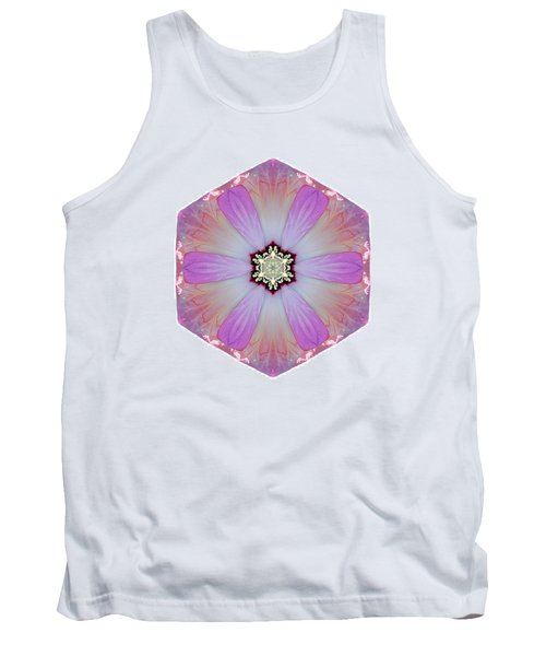 Pink And White Hibiscus Moscheutos I Flower Mandala White Tank Top