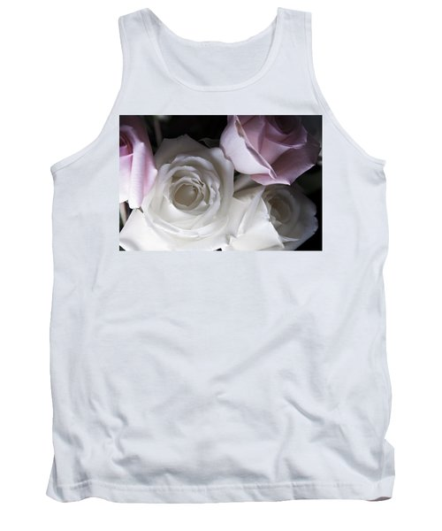 Pink And White Roses Tank Top