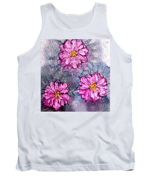 Pink Dahlia Blooms Alcohol Inks Tank Top by Danielle  Parent