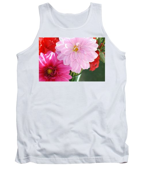 Pink Dahlias In The Morning Tank Top