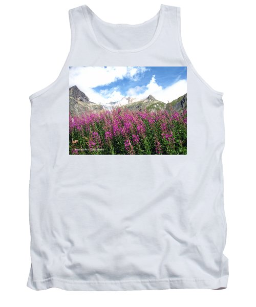 Pink Flowers And Snow Tank Top