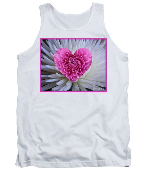Pink Heart On White Tank Top
