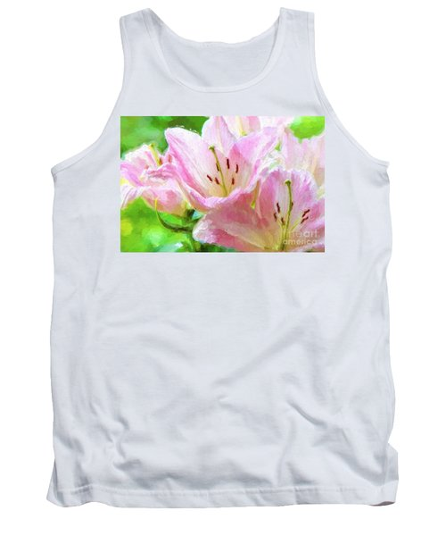 Pink Lilies Digital Painting Impasto Tank Top