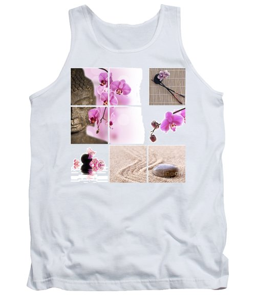 Pink Orchid And Buddha Collage Tank Top