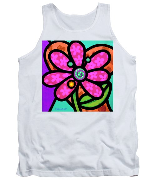 Pink Pinwheel Daisy Tank Top