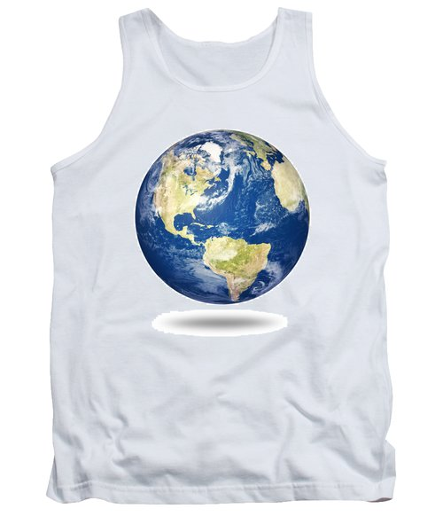 Planet Earth On White - America Tank Top