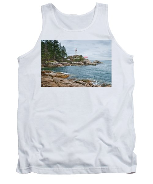 Tank Top featuring the photograph Point Atkinson Lighthouse And Rocky Shore by Jeff Goulden