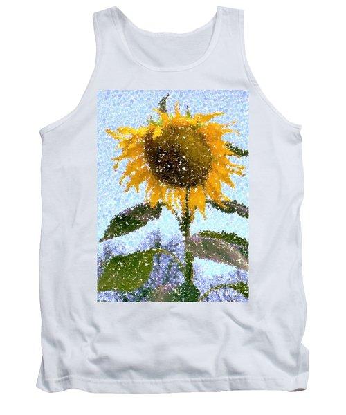 Pointillist Sunflower In Sun City Tank Top