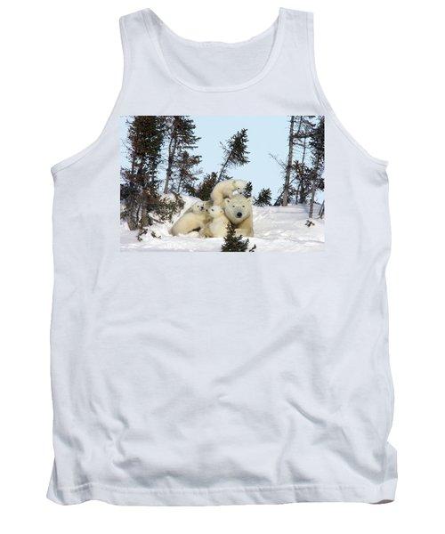 Polar Bear And Trio Of Cubs Tank Top