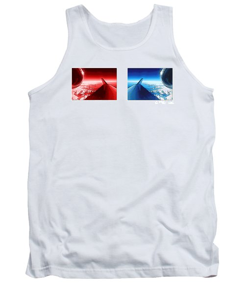 Tank Top featuring the photograph Red Blue Jet Pop Art Planes  by R Muirhead Art