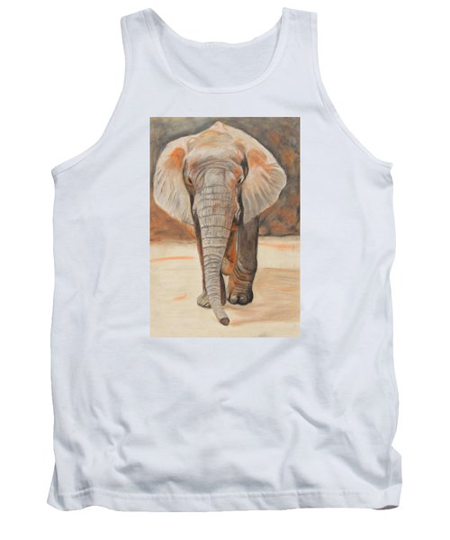 Tank Top featuring the painting Portrait Of An Elephant by Jeanne Fischer