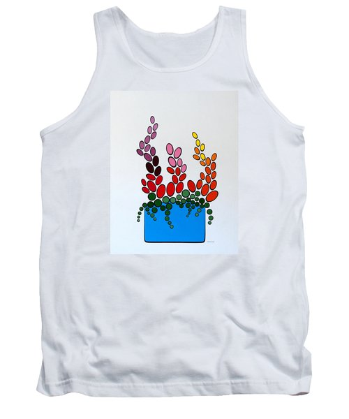 Potted Blooms - Blue Tank Top by Thomas Gronowski