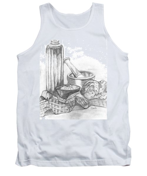 Tank Top featuring the drawing Preparing Starter Course by Teresa White