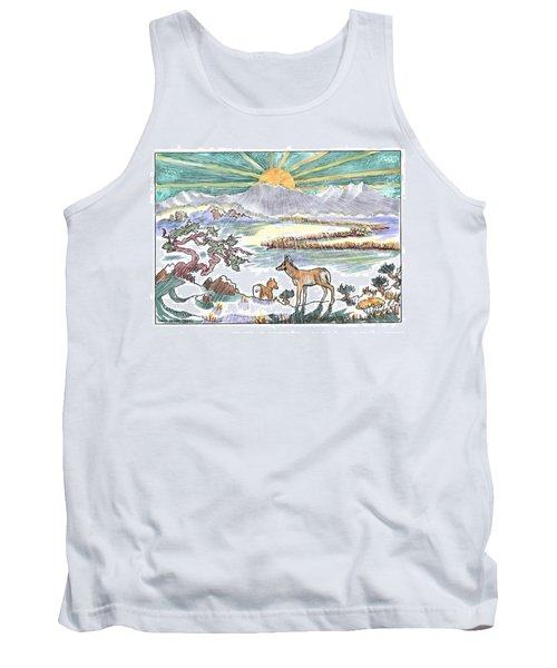 Pronghorn Winter Sunrise Tank Top by Dawn Senior-Trask