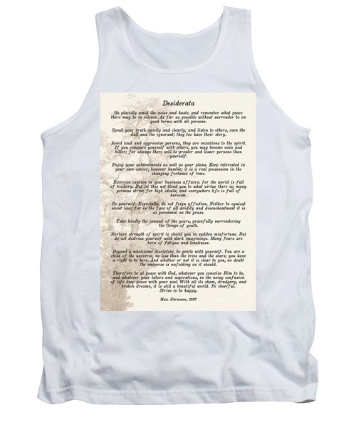 Prose Poem Desiderata By Max Ehrmann  Tank Top