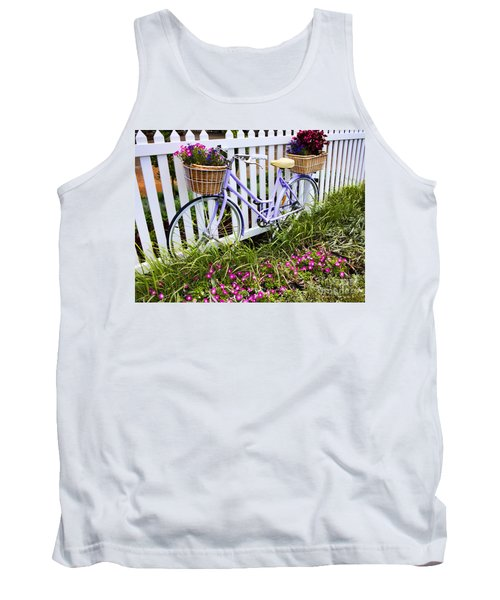 Purple Bicycle And Flowers Tank Top