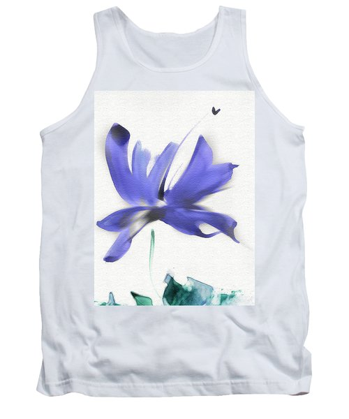 Tank Top featuring the mixed media Purple Iris In The Greenery by Frank Bright