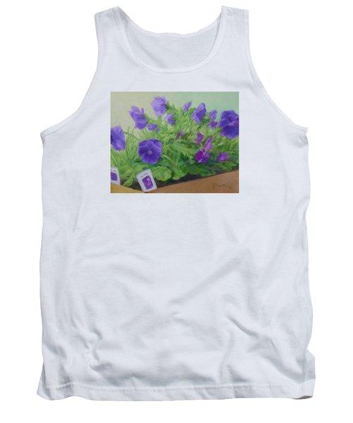 Purple Pansies Colorful Original Oil Painting Flower Garden Art  Tank Top by Elizabeth Sawyer