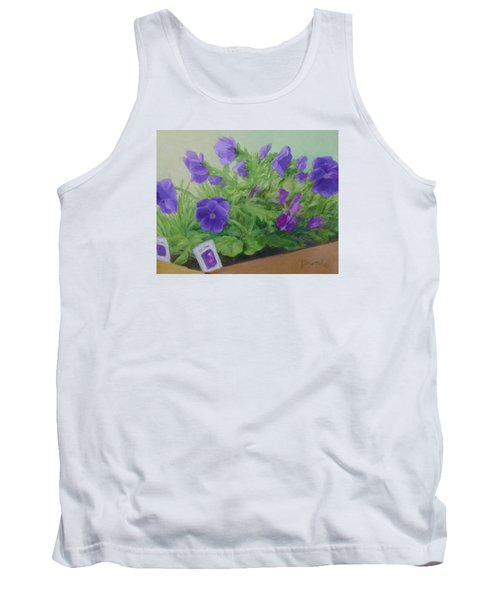 Purple Pansies Colorful Original Oil Painting Flower Garden Art  Tank Top
