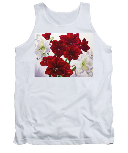 Red And White Amaryllis Tank Top
