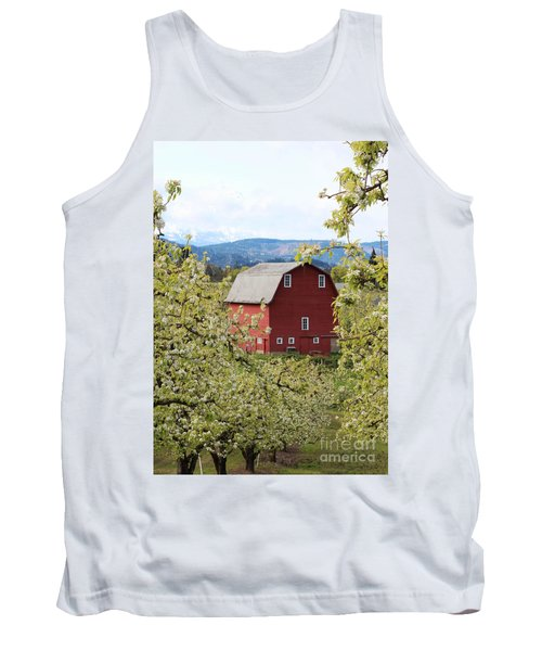 Tank Top featuring the photograph Red Barn And Apple Blossoms by Patricia Babbitt
