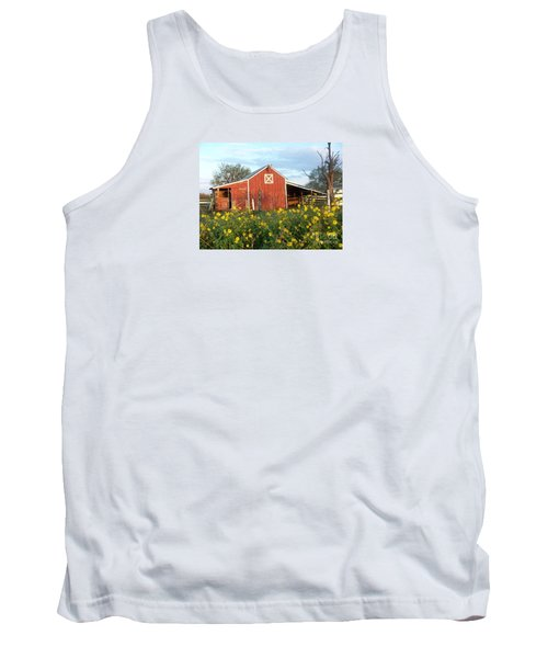 Red Barn With Wild Sunflowers Tank Top