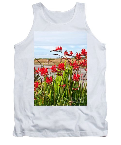 Red Flowers Crocosmia Lucifer Montbretia Plant Art Prints Tank Top by Valerie Garner