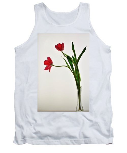 Red Flowers In Glass Vase Tank Top