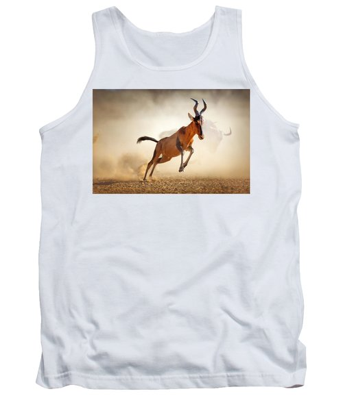 Red Hartebeest Running In Dust Tank Top