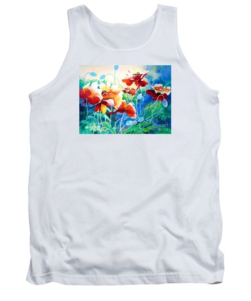 Red Hot Cool Blue Tank Top by Kathy Braud