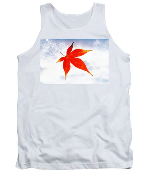 Red Maple Leaf Against White Background Tank Top