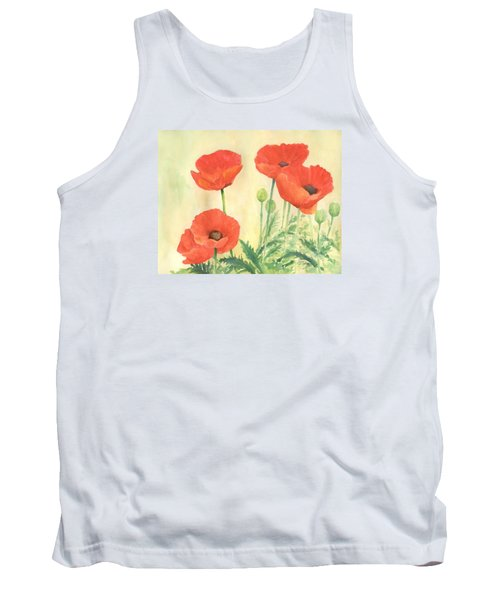 Red Poppies 3 Colorful Watercolor Poppy Floral Original Art Flowers Garden Artist K. Joann Russell Tank Top