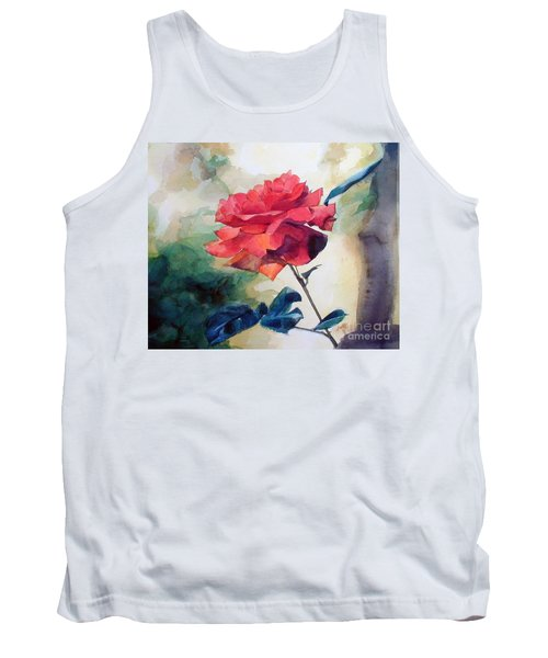 Watercolor Of A Single Red Rose On A Branch Tank Top