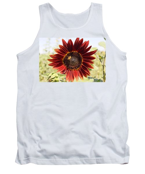 Red Sunflower And Bee Tank Top by Kerri Mortenson