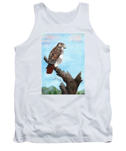 Tank Top featuring the painting Red Tailed Hawk by VLee Watson