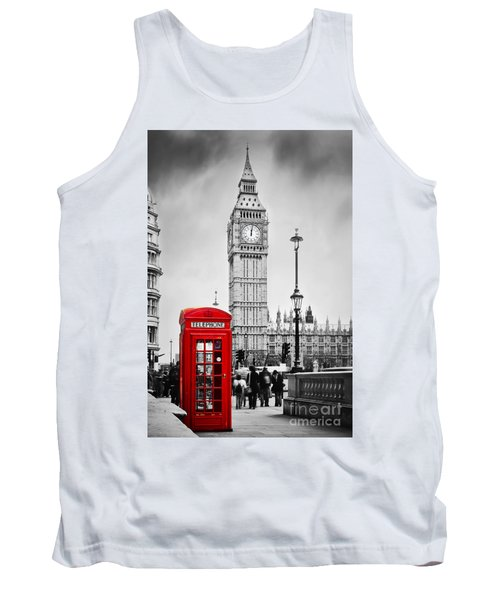 Red Telephone Booth And Big Ben In London Tank Top