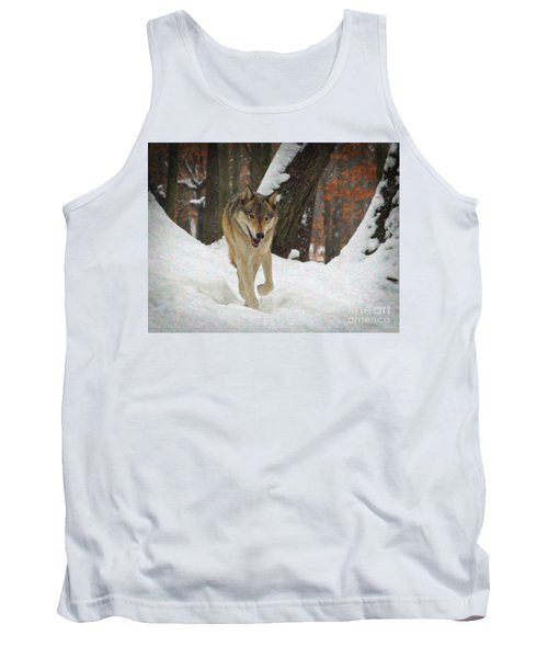 Tank Top featuring the digital art Red Wolf On A Winter Hunt by Lianne Schneider