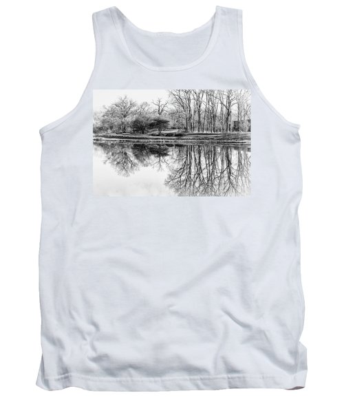 Reflection In Black And White Tank Top by Julie Palencia
